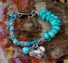 Turquoise Silver and Leather Bracelet Knotted Blue by ljmoreau