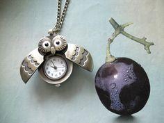 Bronze owl Highend vintage pocket watch Necklace Retro by Minicui, $3.99
