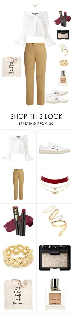 """""""Feel Lonely But I Love U"""" by dorisruiyingli ❤ liked on Polyvore featuring Jacquemus, Yves Saint Laurent, Isabel Marant, Charlotte Russe, Madewell, Soave Oro, NARS Cosmetics, Prada and Eight & Bob"""