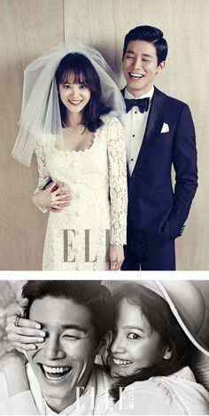 Yoon Seung Ah and Kim Moo Yeol look happy as can be in their lovely wedding pictorial with 'ELLE' magazine Wedding Goals, Wedding Pics, Wedding Couples, Dream Wedding, Wedding Dresses, Couple Photoshoot Poses, Wedding Photoshoot, Wedding Shoot, Korean Wedding Photography