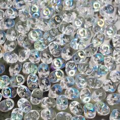 Crystal AB Czech Superduo 2 hole Beads, 2.5 x 5mm oval beads - 3978 - Crystal AB Superduo - 18 Grams
