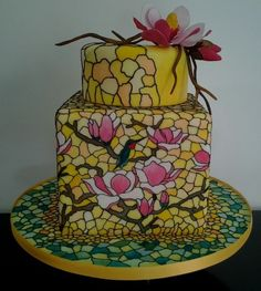 Magnolia stained glass wedding  cake  ~ hand painted all edible