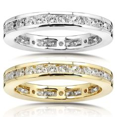 Annello by Kobelli 14k Gold 1ct Diamond Channel Set Eternity Ring (G-H, I1-I2) (White - Size 5.5), Women's (check)