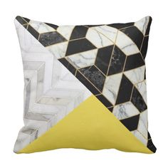 Pop of Color Citron and Marble Statement Throw Pillow