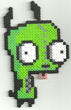 Gir Invader Zim perler beads by Ravenfox-Beadsprites on deviantart