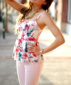 Floral top and jeans
