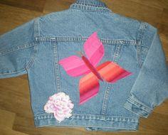 Children's jean jacket size 5 Vintage Jordache blue jean jacket butterfly appliqué Pink butterfly jean jacket up cycled repurposed by elainenthesun on Etsy