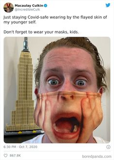 Macaulay Culkin's Face Mask Macaulay Culkin, Actors, Funny Pins, Really Funny, Face, Followers, Wednesday, Masks, People