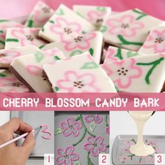 Use three colors of melted Candy Melts and a cut decorating bag to pipe free-form floral designs, then give texture to the design using brush embroidery to create customized candy bark!