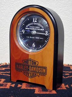 Harley Davidson Desk Clock Walnut Wood HD 1998 Authentic Collectible Made in USA