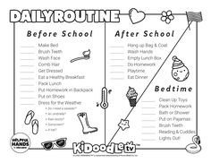 Print and color this June daily routine print out from Kidoodle.TV® Routine Printable, Bath Or Shower, Do Homework, Clean Shoes, Activity Sheets, Eat Breakfast, How To Make Bed, After School, Face Wash