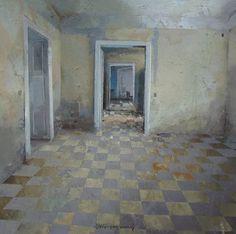 Matteo Massagrande, Interno, tecnica mista su tavola, 30 x 30 cm #contemporary #art #painting