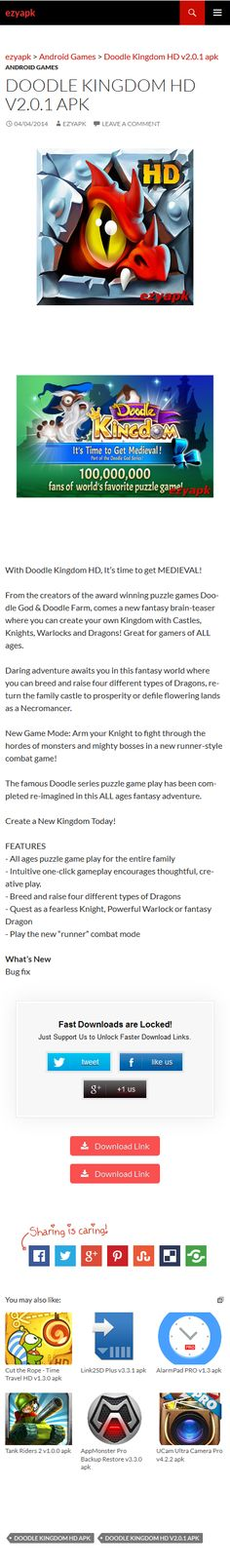 Android Games Doodle Kingdom HD v2.0.1 apk - ezyapk With Doodle Kingdom HD, It's time to get MEDIEVAL! From the creators of the award winning puzzle games Doodle God & Doodle Farm, comes a new brain-teaser. http://www.ezyapk.com/android-games/doodle-kingdom-hd-v2-0-1-apk/