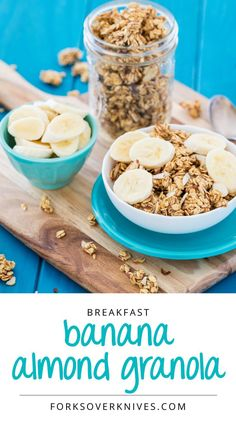 This granola recipe was inspired by my favorite banana almond muffins. Whether in muffins or in cereal, bananas and almonds pair perfectly.