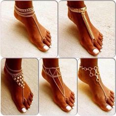 jewels feet accesoires gold, ankle cuff ankle jewerly feet feet jewelry toe ring - Pin This Cute Jewelry, Body Jewelry, Beach Jewelry, Chain Jewelry, Jewelry Accessories, Fashion Accessories, Botas Sexy, Moda Boho, Bare Foot Sandals