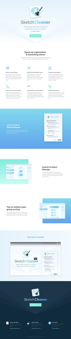 Beautifully designed One Pager for SketchCleaner – a Sketch plugin that helps keep your design files as clean as a whistle. Lovely touch with the subtle header background diamond effect (alike the Sketch logo) thats also inverted to a dark scheme in the gorgeous spacious footer.