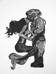 Drawing of Mermaid & scuba diver kidding art
