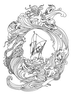 Abstract Ship Zentangle Art Hard Coloring Pages For Adults