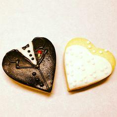 Bride and Groom heart cookies #showercookies #engagementpartyfavors #showerfavors #wedding favors #sweetruminations  (at Sweet Ruminations 228 York Rd Ste B Warminster PA 18974)