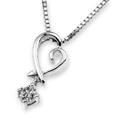 (X1000Diamond) 18K/750 White Gold Diamond Heart Shape Pendant W/925 Sterling Silver Chain (0.13 cttw, G-H Color, VS2-SI1 Clarity) - http://finejewelrygalleria.com/jewelry/x1000diamond-18k750-white-gold-diamond-heart-shape-pendant-w925-sterling-silver-chain-013-cttw-gh-color-vs2si1-clarity-com/