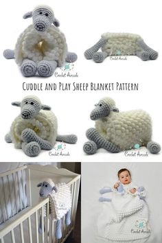 Cuddle and Play 2 in 1 Sheep Crochet Baby Blanket is a perfect crochet baby shower idea. This blanket will not only keep the baby warm but also entertained when travelling in a pram or a car. It also doubles up as a crochet lovi blanket for baby to cuddle up and fall asleep.