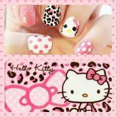 20 Cute Hello Kitty Nail Art Designs - Page 3 of 20 - Beautyhihi Latest Nail Designs, Cool Nail Designs, Pedicure, Manicure Ideas, Nail Ideas, Nail Art For Kids, Hello Kitty Nails, Sassy Nails, Nail Photos