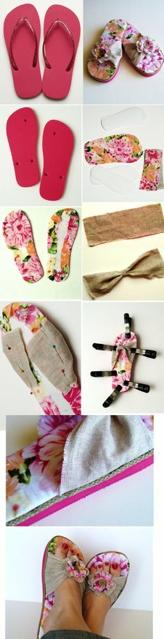 Flip-Flop Refashion - DIY - ideas i like - Zapatos Flip Flop Craft, Flip Flops Diy, Sewing Crafts, Sewing Projects, Shoe Makeover, Shoe Refashion, Do It Yourself Fashion, Shoe Pattern, Crochet Shoes