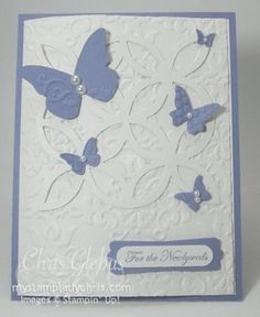 Stampin' Up Butterfly Lattice Wedding Card