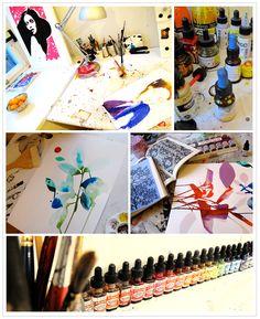 Artist Stina Persson  bold watercolor/mixed media  via hello lovely blog