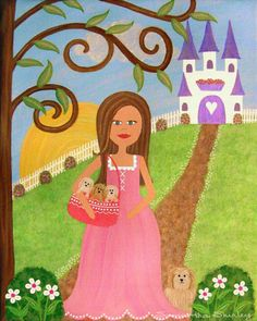 PUPPYTALES PALACE - It's a beautiful day for a family outing and this little princess is armed and ready. With mamma dog at her side and the pups in her tote, they are off to take a walk.