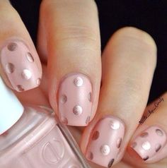 Pink with gold dots...
