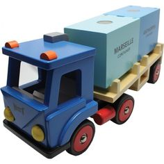 Houten speelgoed vrachtwagen met 2 containers, New Classic Toys | www.3vosjes.nl