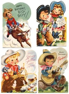 cowboy birthday vintage greeting cards from saturdayfinds etsy shop