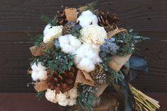 Rustic Wedding Bouquet Winter Wedding by SmokyMtnWoodcrafts