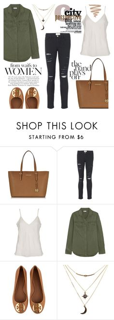 """""""Short walk  through the park."""" by deckerandlee ❤ liked on Polyvore featuring Michael Kors, Frame Denim, Splendid, Tory Burch and Charlotte Russe"""