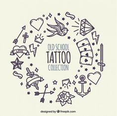 Fondo de corona hecha de tatuajes dibujados a mano  Vector Gratis
