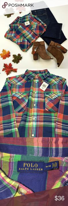 Leaves are falling Ralph Lauren plaid button up Snap button up plaid top. Classic fall attire by classic Ralph Lauren. Perfect for layering. Get your jeans and boots ready, Fall is coming....... Ralph Lauren Tops Button Down Shirts