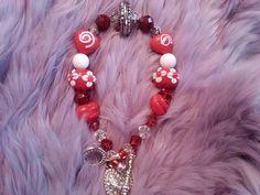 Luv & Kisses Red Crystal and Lampwork bracelet by FarringtonBead, $15.00