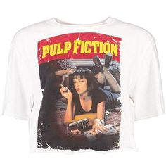 Boohoo Amber Pulp Fiction Licence Crop Top (€13) ❤ liked on Polyvore featuring tops, t-shirts, shirts, polka dot crop top, rayon tops, kimono top, off shoulder tops and bralette tops