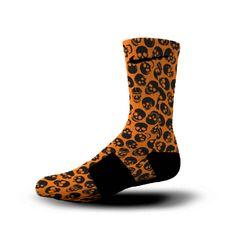 Orange and black skull socks