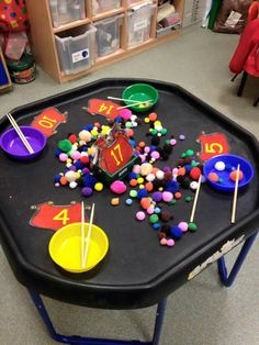 Just a very simple idea for quieter sessions. Pom poms are so quiet. Children get the pom-poms with chopsticks or tweezers.... good for counting sorting and fine manipulative. Can be done individually or they could choose a number then race to collect.