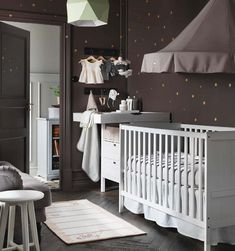IKEA Catalog 2016 I don't have any babies - yet. But I love this color scheme for a nursery. Baby Bedroom, Baby Boy Rooms, Baby Boy Nurseries, Baby Room Decor, Baby Cribs, Nursery Room, Kids Bedroom, Nursery Themes, Nursery Ideas
