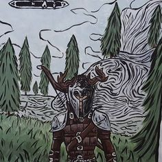 #painting #skyrim #traditional #warrior #jordislagierriere #landscape #bordecielestlaterredespudiques Skyrim, Land Scape, Images, Painting, Traditional, Photo And Video, Drawings, Videos, Pictures
