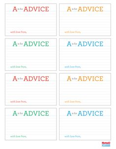 A is for Advice Printable. Guests can share their parenting tips.