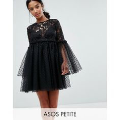 ASOS PETITE Lace and Dobby Mesh Fluted Sleeve Mini Smock Dress (€100) ❤ liked on Polyvore featuring dresses, black, petite, mini dress, sheer lace dresses, crochet lace dress, petite lace dress and short mini dress