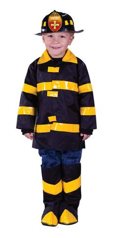 Newly Kids Fireman Cosplay Set Reflective Stripe Fancy Dress Long Sleeve Uniform