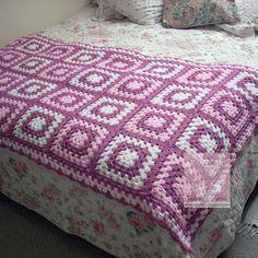 Battaniye 3 Granny Square Crochet Pattern, Afghan Crochet Patterns, Crochet Squares, Crochet Granny, Granny Squares, Knitting Patterns, Crochet Ripple Blanket, Crochet Bedspread, Crochet Home