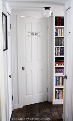 The Shabby Creek Cottage | Decorating | Craft Ideas | DIY: Summer Tour of Homes Day One: tall, narrow bookcase in small areas of house- good way to store books