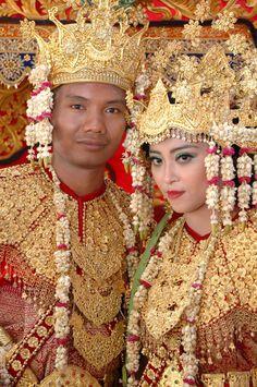Songket fabric on Malaysian couple.