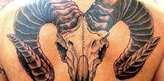 Aries Ram Skull Tattoos Big aries ram tattoo on back